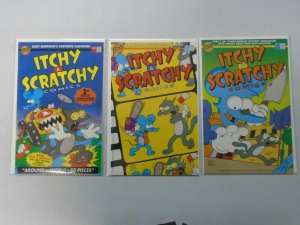 Itchy and Scratchy Comics set #1-3 with poster and cards avg 7.0 FN VF (1993 Bon