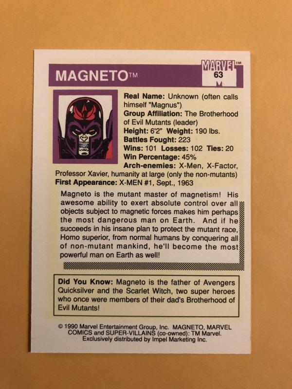 MAGNETO #63 : 1990 Marvel Universe Series 1 card, NM/M,  X-Men