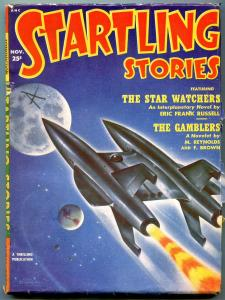 Startling Stories Pulp November 1957-Schomburg rocket cover- When Worlds Collide