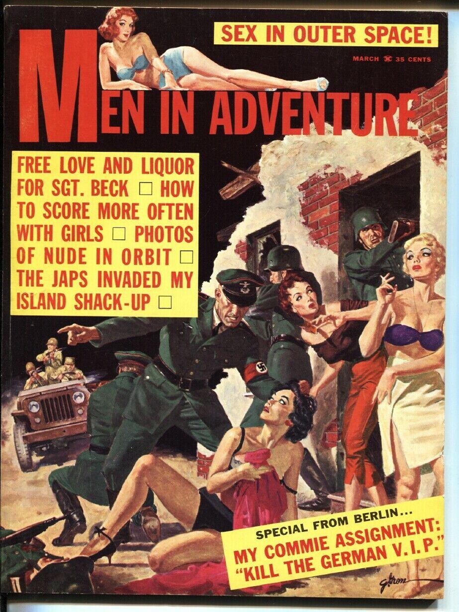 MEN IN ADVENTURE-3/1962-GEORGE GROSS-Spicy NAZI abuse vf- / HipComic