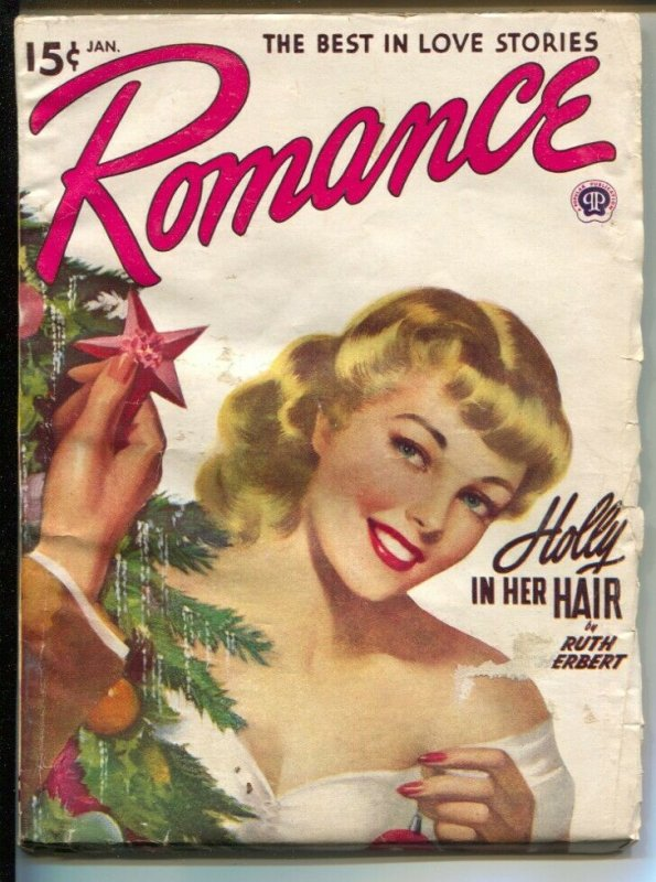 Romance 1/1949-pin-up girl cover-female pulp fiction authors-Christmas issue-VG