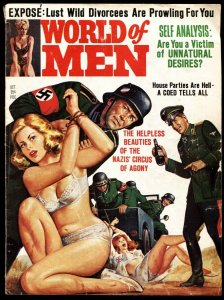 World of Men 10/1964-Nazis drag babe behind jeep-Narcotics