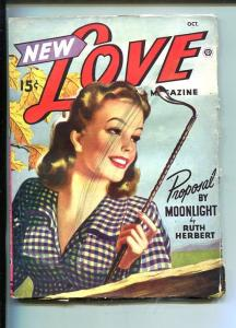 NEW LOVE-OCT 1946-ROMANTIC PULP FICTION-PIN-UP GIRL COVER-RIDING CROP-vg minus