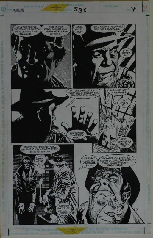 KELLEY JONES / JOHN BEATTY original art, BATMAN #538 pg 7, 11x17, 1996, Drugs
