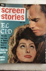 Screen Stories Jan.1962-Sophia,Elvis&more!great photos!C all my mags! Combine!