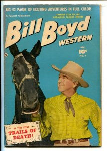 Bill Boyd Western #9 1950- Fawcett-Photo cover-52 page issue-Bondage panel-Ho...