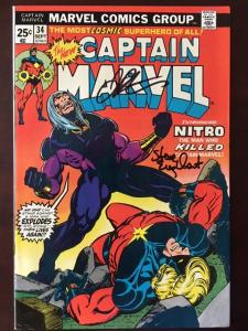 CAPTAIN MARVEL #34 VF+ SIGNED STARLIN & ENGLEHART!  ULTIMATE THANOS COLLECTION!