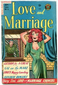 Love and Marriage #16 1954- Spicy cover art- Lessons for a cheat VG