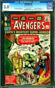 Avengers #1 CGC Graded 3.0 1st Avengers (9/63)