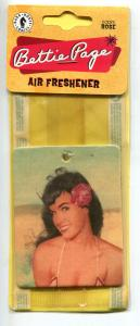 BETTIE PAGE air Freshener, Photo shot by Bunny Yeager, Unused, MIP, Rose scent