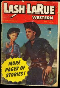 LASH LARUE WESTERN #38 FAWCETT PHOTO COVER 1953 WHIPS FR/G