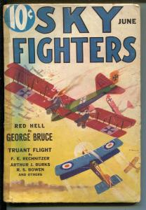 SKY FIGHTERS 06/1933-AIR WAR PULPS-WWI-CLASSIC-RARE-good