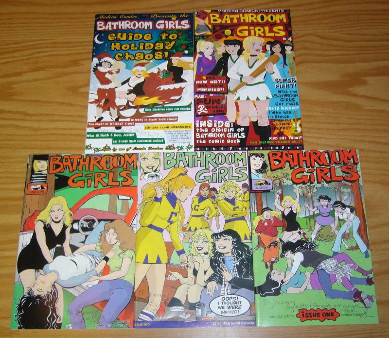 Bathroom Girls #1-4 VF/NM complete series + holiday - inscribed by yvonne mojica