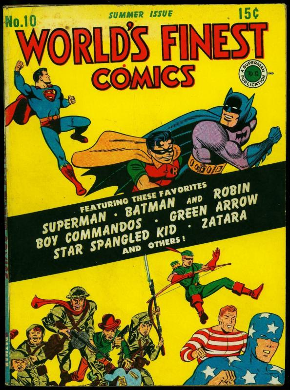 World's Finest #10 1943 -Superman- Batman- Green Arrow- Simon & Kirby VG/F