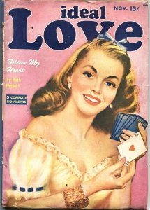 IDEAL LOVE-11/1949-PIN UP GIRL ACE OF HEARTS CARD CVR-PULP ROMANCE