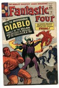 FANTASTIC FOUR-#30-1964 DIABLO-HUMAN TORCH-JACK KIRBY ART-vg-