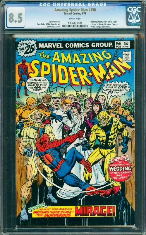 Amazing Spider-Man #156 CGC Graded 8.5 Wedding of Betty Brant & Ned Leeds. 1s...