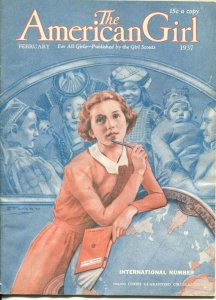 American Girl 2/1937-E.F. Ward cover art-fashions-pulp fiction-Girl Scouts-G/VG