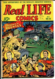 Real Life #23 1945-Nedor-Alex Schomburg WWII fight the Nazis cover-FN-