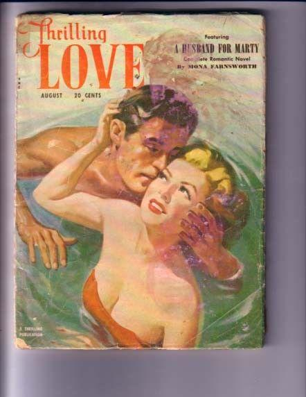 THRILLING LOVE-AUG 1951-SWIMSUIT COVER PULP G/VG