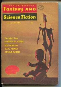 Magazine of Fantasy & Science Fiction 9/1965-MercuryBert Tanner cover-Asimov-...