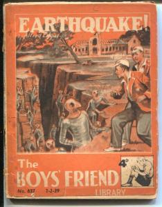 Boy's Friend Library #657 2/1939-Earthquake -sci-fi horror pulp-G