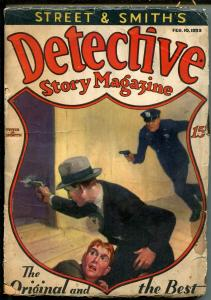 DETECTIVE STORY 02/10/1933-EARLY SHIELD COVER-VIOLENT-PULP CRIME-fr/good