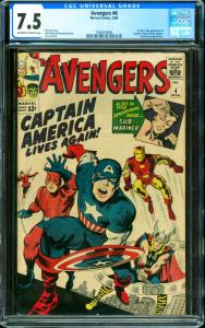 Avengers #4 CGC Graded 7.5 1st Silver Age Captain America (3/64)