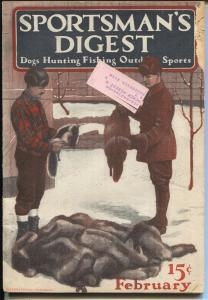 Sportsman's Digest  2/1923-outdoor life-hunting-fishing-wildlife pix-FN-