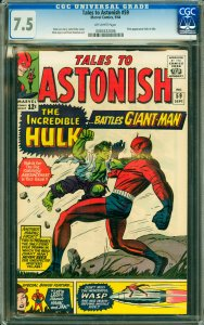 Tales to Astonish #59 CGC Graded 7.5 1st appearance of Hulk in title.
