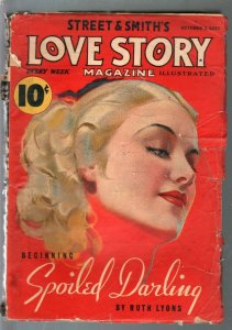 Love Story 10/2/1937-portait cover-Spoiled darling by Ruth Lyons-G/VG