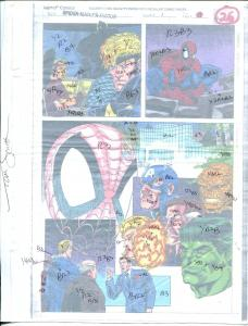 Spider-Man / X-Factor #1 Hand Painted  Colorguide  Page 26-Capt America-Thing-FN