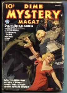 DIME MYSTERY 8/1935--BAUMHOFER COVER-WEIRD MENACE-SPICY-SAUCY-vg