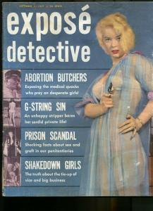 EXPOSE DETECTIVE SEP 1957-WILD TRUE CRIME-PULP-MAGAZINE-ABORTION BUTCHERS! G