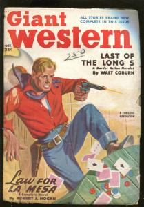 GIANT WESTERN 10/1950-POKER GAME CHEATING COVER-GAMBLING PULP-GUNFIGHT-vg