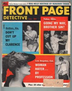 FRONT PAGE DETECTIVE OCT 1956-WOMEN HATERS-ARSON CVR-TRUE CRIME PULP MAG G