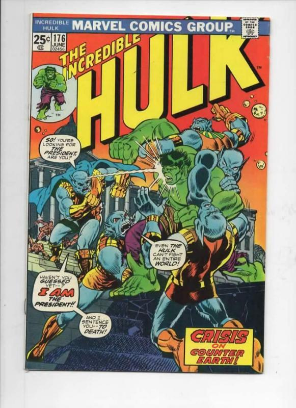 HULK 176, VF+, Incredible, Bruce Banner, Counter Earth, 1968 1974, Warlock cameo