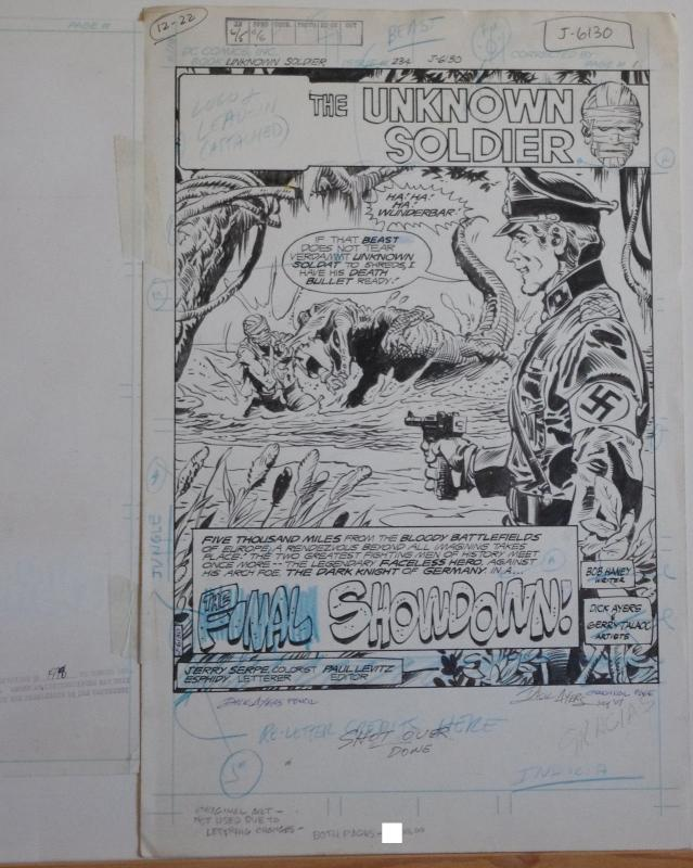 DICK AYERS Published Original Art ,Unknown Soldier #234, page 1, Splash,2 pieces