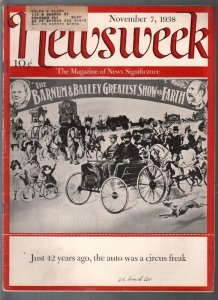 Newsweek 11/7/1938-history of the automobile-Nazis-H G Wells-Charlie Chan-VG