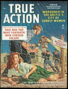TRUE ACTION FEB 1962-SPICY PRISON ESCAPE COVER-BAMA ART FN