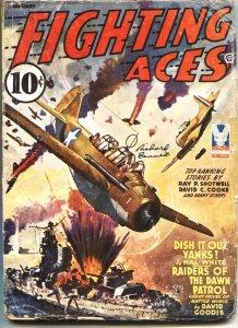 FIGHTING ACES-JAN 1943-DAVID GOODIS-ORLANDO RIGONI-WW II PULP FICTION-POPULAR...