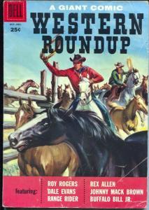 Western Roundup #20 1957-Dell-photo cover-Roy Rogers-Rex Allen-Bill Elliott-VG