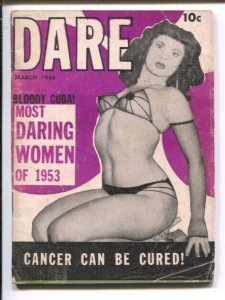 Dare #1 3/1954-Fiction House-mini-mag about 4 x 5 1/2-daring women-cheesecake...