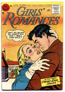 GIRLS' ROMANCES #36 1956-DC COMICS-TENDER MOMENT COVER!  vg
