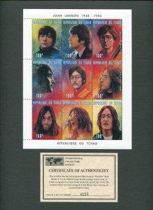 John Lennon Commemorative Stamp Sheet  1996