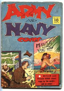 Army and Navy Comics #1- Hitler appearance- Jack Farr art-Golden age-First issue