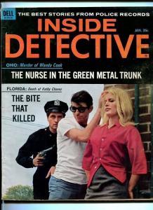 INSIDE DETECTIVE-JAN. 1965-ESCAPE-TIGER-GUN-BURNING-UNLAWFUL-HUNTED VG/FN