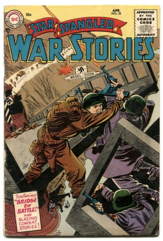 Star Spangled War Stories #32 1955- Bridge To Battle FN-