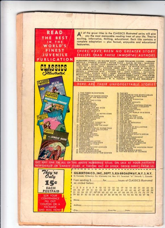 Classics Illustrated #98 (Aug-52) GD/VG Affordable-Grade