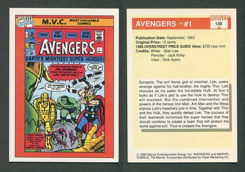1990 Marvel Comics Card  #130 (Avengers #1 Cover) NM+